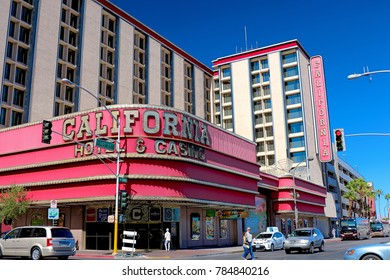 Las Vegas, Nevada, USA - Oct 10 2017 : California Hotel and Casino at 12 East Ogden Avenue. Opened in 1975 with a hotel and casino located in Downtown Las Vegas, near the Fremont Street Experience.