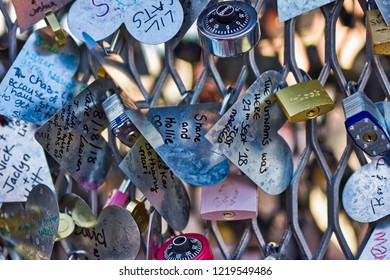 Las Vegas, Nevada / USA - October 8, 2018: Love Locket interactive, metal heart-shaped sculpture located in Container Park in Downtown Las Vegas on Fremont Street.
