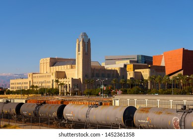 Las Vegas, Nevada, USA - October 22, 2018 : The Smith Center for the Performing Arts and a freight train in Las Vegas. It is the home of the Las Vegas Philharmonic and Nevada Ballet Theatre.