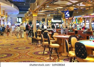 LAS VEGAS, NEVADA, USA - OCTOBER 20, 2013 : Casino in Caesar's Palace   in Las Vegas, Caesar's Palace hotel opened in 1966 and has a Roman Empire theme.
