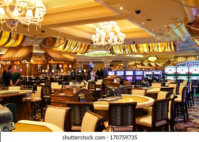 LAS VEGAS, NEVADA, USA - OCTOBER 21, 2013 : Casino in Bellagio Hotel in Las Vegas, Bellagio Hotel and Casino opened in 1998. This luxury hotel  owned by MGM Resorts International