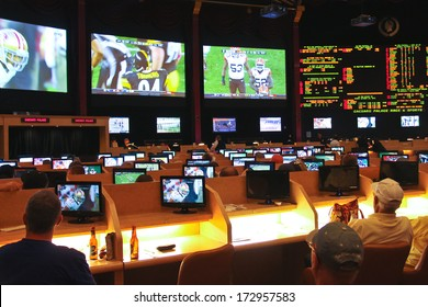 LAS VEGAS, NEVADA, USA - OCTOBER 20, 2013 : Sport betting at Caesar's Palace   in Las Vegas, Caesar's Palace hotel opened in 1966 and has a Roman Empire theme.