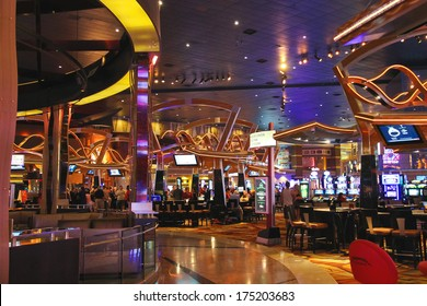 LAS VEGAS, NEVADA, USA - OCTOBER 21, 2013 : Casino in  New York-New York Hotel and Casino in Las Vegas . The hotel opened in 1997. The interior is a copy of the streets of New York