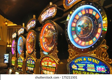 LAS VEGAS, NEVADA, USA - OCTOBER 21, 2013 : Slot machines in New York-New York Hotel and Casino in Las Vegas . The hotel opened in 1997. The interior is a copy of the streets of New York