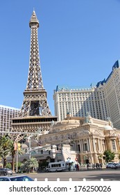 LAS VEGAS, NEVADA, USA - OCTOBER 21, 2013 : Paris Hotel in Las Vegas with a replica of the Eiffel Tower. Opened in 1999 and demonstrates the sights of Paris