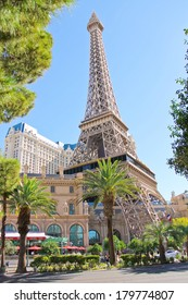 LAS VEGAS, NEVADA, USA - OCTOBER 21, 2013 : Paris Hotel in Las Vegas with a replica of the Eiffel Tower.