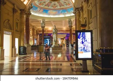 LAS VEGAS, NEVADA, USA - OCTOBER 23, 2013 : Lobby in Caesar's Palace in Las Vegas, Caesar's Palace hotel opened in 1966 and has a Roman Empire theme.
