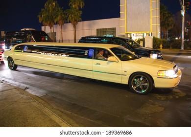 LAS VEGAS, NEVADA, USA - OCTOBER 23, 2013 : Cars on the street in Las Vegas, Nevada. 40 million tourists visited Las Vegas in 2012