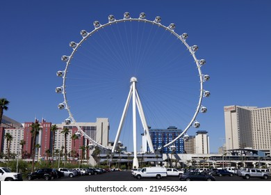 Las Vegas, Nevada, USA - Sept. 22, 2014: The High Roller Ferris Wheel  stands tall 550-foot located in the area known as The LINQ on the Strip in Las Vegas, Nevada, USA - Sept. 22, 2014.