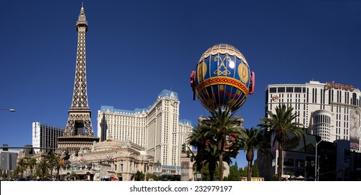 Las Vegas, Nevada, USA - Sept. 22, 2014: The famous Las Vegas Strip in front of Paris Casino. Picture shows the Paris balloon and the Eiffel Tower replica in Las Vegas, Nevada, USA on Sept. 22, 2014