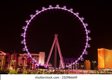 Las Vegas, Nevada, USA - Sept. 25, 2014: Night picture of The High Roller Ferris Wheel in Las Vegas stands tall 550-foot and has a diameter of 520-foot in Las Vegas, Nevada, USA on Sept. 25, 2014