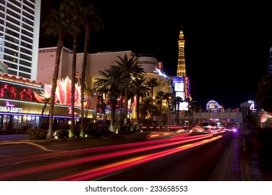 Las Vegas, Nevada, USA - Sept. 25, 2014: Nightlife along the famous Las Vegas Strip in front of the Paris Casino in Las Vegas, Nevada, USA in Sept. 25, 2014