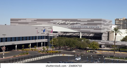 Las Vegas, Nevada, USA - Sept. 22, 2014: Low aerial view of the Las Vegas Convention Center is the largest single-level convention center in the world in Las Vegas, Nevada, USA on Sept. 22, 2014