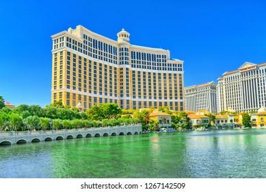 Las Vegas, Nevada, USA - September 16, 2018: Main street of Las Vegas is the Strip. Casino Bellagio.
