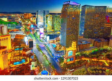 Las Vegas, Nevada, USA - September 17, 2018: Main street of Las Vegas-is the Strip in evening time.