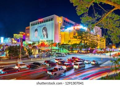 Las Vegas, Nevada, USA - September 16, 2018: Main street of Las Vegas-is the Strip in evening time. Casino, hotel and resort-Flamingo.