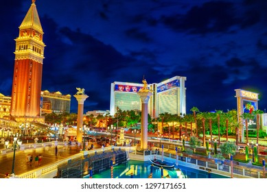 Las Vegas, Nevada, USA - September 16, 2018: Main street of Las Vegas-is the Strip in evening time. Casino, hotel and resort- Venetian.