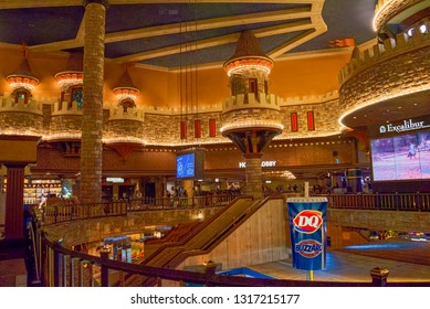Las Vegas, Nevada, USA - September 15, 2018: Casino Excalibur. Interior of the casino is inside- game tables, slot machines, roulette.