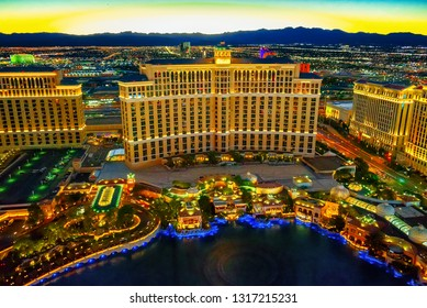 Las Vegas, Nevada, USA - September 17, 2018: Main street of Las Vegas-is the Strip in evening time. Casino, hotel and resort-Bellagio.