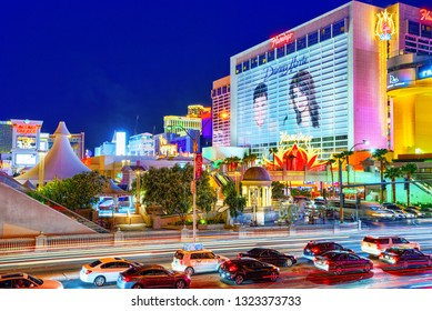Las Vegas, Nevada, USA - September 16, 2018: Main street of Las Vegas-is the Strip in evening time. Casino, hotel and resort-Flamingo.