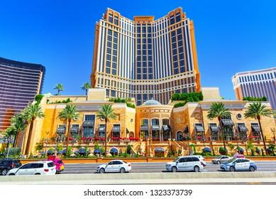 Las Vegas, Nevada, USA - September 16, 2018: Main street of Las Vegas is the Strip. Casino, hotel and resort Palazzo.
