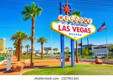 Las Vegas, Nevada, USA - September 18, 2018: Famous Las Vegas sign on bright sunny day at the entrance to the Strip.