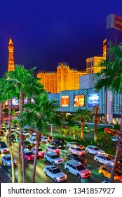 Las Vegas, Nevada, USA - September 15, 2018: Main street of Las Vegas-is the Strip in evening time.