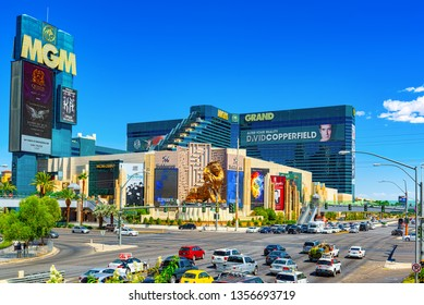 Las Vegas, Nevada, USA - September 16, 2018: Main street of Las Vegas is the Strip. Casino, hotel and resort   MGM Grand.