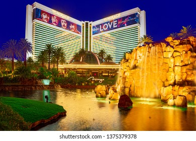 Las Vegas, Nevada, USA - September 16, 2018: Main street of Las Vegas-is the Strip in evening time. Casino, hotel and resort- The Mirage.