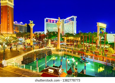 Las Vegas, Nevada, USA - September 16, 2018: Main street of Las Vegas-is the Strip in evening time. Casino, hotel and resort- Venetian.