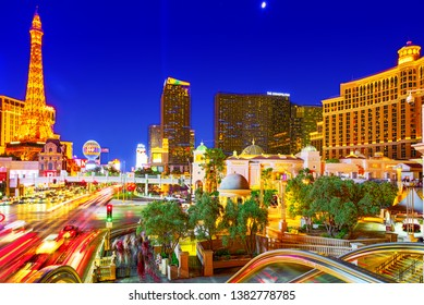 Las Vegas, Nevada, USA - September 16, 2018: Main street of Las Vegas-is the Strip in evening time.