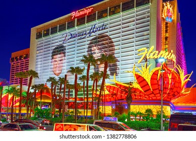 Las Vegas, Nevada, USA - September 15, 2018: Main street of Las Vegas-is the Strip in evening time. Casino, hotel and resort-Flamingo.