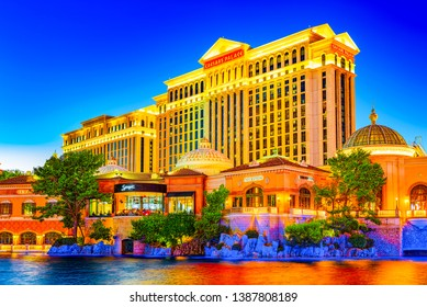 Las Vegas, Nevada, USA - September 15, 2018: Main street of Las Vegas-is the Strip in evening time. Casino, hotel and resort-Caesars Palace.