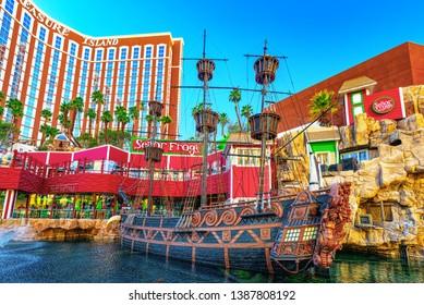 Las Vegas, Nevada, USA - September 15, 2018: Main street of Las Vegas is the Strip. Casino, hotel and resort Treasure Island.