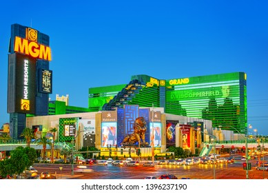 Las Vegas, Nevada, USA - September 15, 2018: Main street of Las Vegas-is the Strip in evening time. Casino, hotel and resort-MGM Grand.