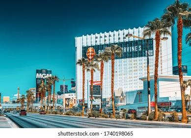 Las Vegas, Nevada, USA - September 16, 2018: Main street of Las Vegas is the Strip. Casino, hotel Tropicana resort.