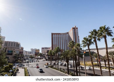 Las Vegas, Nevada, USA-December 23, 2014. View of strip in Las Vegas during the Christmas vacation.