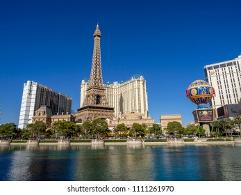 Las Vegas, Nevada / USE - June 7, 2017: The Paris hotel in Las Vegas, Nevada. The hotel includes a half scale, 541-foot (165 m) tall replica of the Eiffel Tower.