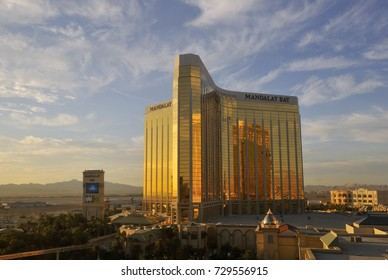 LAS VEGAS, NEVADA-CIRCA SEPTEMBER 2010 - Mandalay Bay hotel and casino photographed prior to mass shooting event in October 2017. Mandalay Bay is a 43- story luxury resort and casino.
