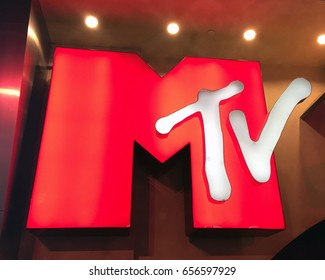 LAS VEGAS, NEVADA-DECEMBER 28, 2017:  MTV logo in neon letters at the MGM Grand Hotel in Las Vegas.