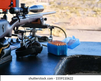 LAS VEGAS, NEVADA/UNITED STATES-NOVEMBER 9, 2019: Long range rifle and ammo ready for shooting competition in desert.