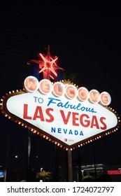 Las Vegas, Nevada/USA; 08 31 2019: Las Vegas Welcome Light sign