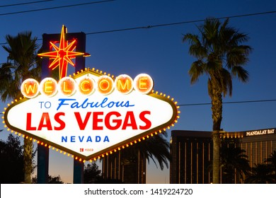 Las Vegas, Nevada/USA - 6/7/2019: Welcome to Las Vegas Sign with Orange Lights for National Gun Violence Awareness Day