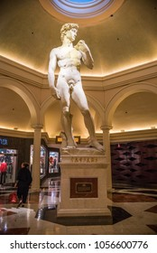 LAS VEGAS, NEVADA/U.S.A. - FEBRUARY 17, 2018: An exact replica of Michelangelo's David statue made of Carrara marble stands indoors, along the Appian Way to the Forum Shops at Caesar's Palace.