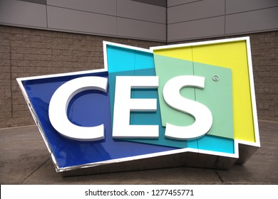 Las Vegas, Nevada/USA - Jan 7 2019: CES Logo outside Las Vegas Convention Center