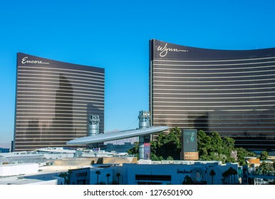 Las Vegas, Nevada/USA - January 4, 2019: The Wynn Las Vegas and Encore Resort side by side on Las Vegas Strip.  Fashion Show Mall in foreground