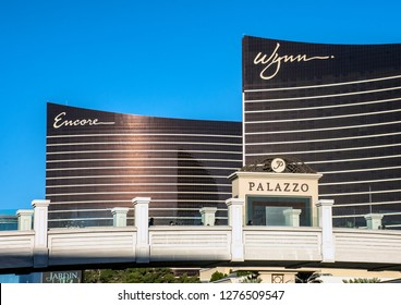 Las Vegas, Nevada/USA - January 4, 2019: The Wynn Las Vegas and Encore Resort side by side on the Las Vegas Strip.