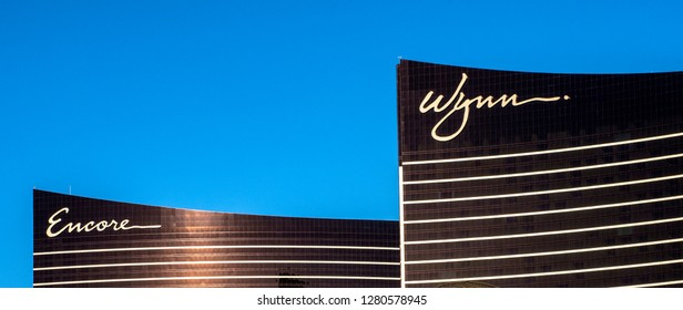 Las Vegas, Nevada/USA - January 4, 2019: The architecturally stunning Wynn Las Vegas and sister hotel Encore Resort share modern design that remain fresh more than 10 years after being built