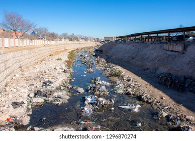 Las Vegas, Nevada/USA - January 5, 2019: Heavily polluted local waterway near Las Vegas Strip containing homeless encampment - Homeless in America