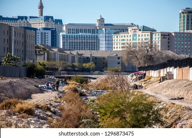 Las Vegas, Nevada/USA - January 5, 2019: Heavily polluted local waterway near Las Vegas Strip containing homeless encampment - Homeless in America in the shadow of famous casinos Bellagio, Bally's